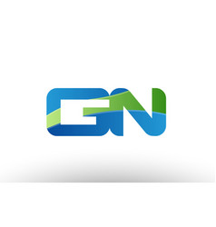 blue green gn g n alphabet letter logo vector image