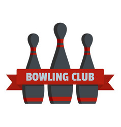 Bowling club logo flat style vector