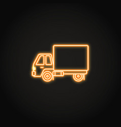 Box truck neon icon in line style vector