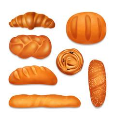 Bread bakery realistic icon set vector