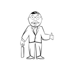 Businessman in glasses with case Professor in vector
