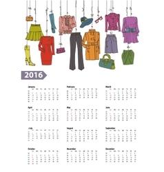 Calendar 2016 yearWoman fashion setColored vector image