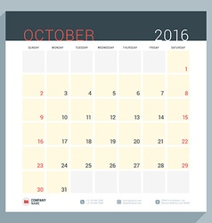 Calendar Planner for 2016 Year Stationery Design vector image