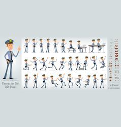 Cartoon flat police boy character big set vector