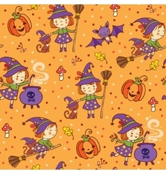 cartoon halloween seamless pattern with funny vector image