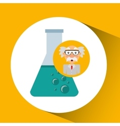 Character man scientist beaker laboratory vector