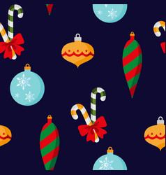 christmas decorations with red bow seamless vector image