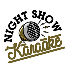 Color vintage karaoke emblem vector