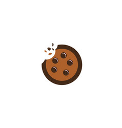 cookies biscuits cracked chocolate logo ico vector image