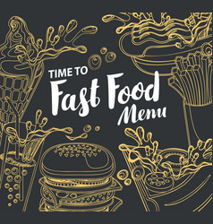 Cover for fast food menu in retro style vector