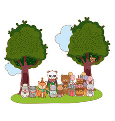 Cute adorable animals cartoon vector