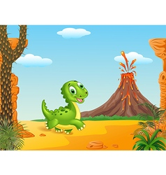 Cute baby dinosaur running vector