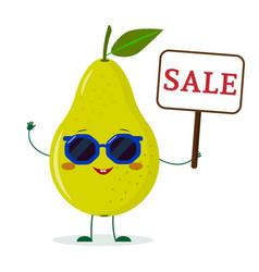 cute pear green cartoon character in sunglasses vector image
