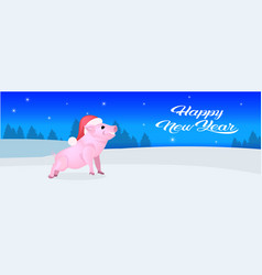 cute pig red hat happy new year merry christmas vector image