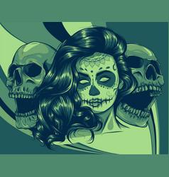 Dead girl with two sugar skulls vector