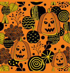 decorative seamless pattern with autumn pumpkins vector image