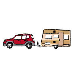 drawn suv car camper trailer travel transport vector image