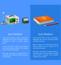 Electronics banner with place for text on blue vector