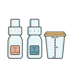 empty urine collection vessels for doping control vector image