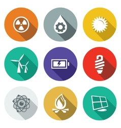 Energy flat icons set vector