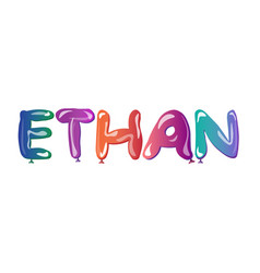 Ethan male name text balloons vector