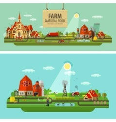 Farm and city set of elements - tractor farmer vector