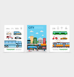 flat city transport posters vector image