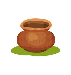 Flat icon of old pottery jug on green grass vector