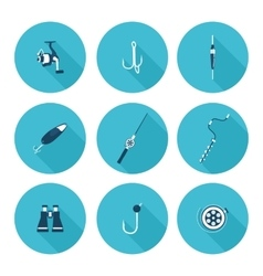 flat icons fishing vector image
