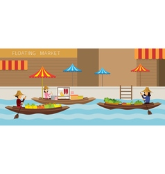 Floating Market Boat Travel vector image
