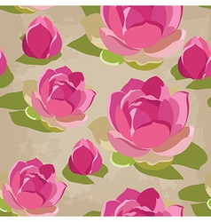 Floral seamless pattern with lotus hand-drawing vector