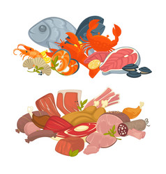 food meat fish and seafood flat icons set vector image