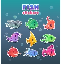 Funny cartoon colorful fish stickers set vector image