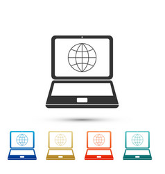 Globe on screen of laptop icon on white background vector