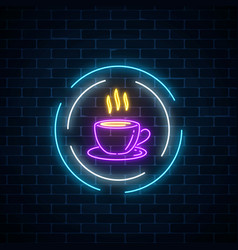 Glowing neon coffee cup sign in circle frames on vector
