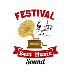 Gramophone Best music sound festival emblem vector
