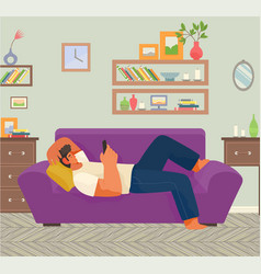 Guy lie on sofa and play on phone living room vector