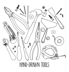 hand drawn construction tools vector image