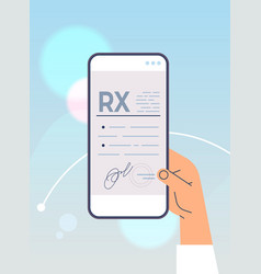 hand using mobile app with rx medical prescription vector image