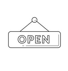 hanging open door sign line icon vector image