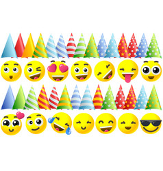 Happy birthday emoji icons vector