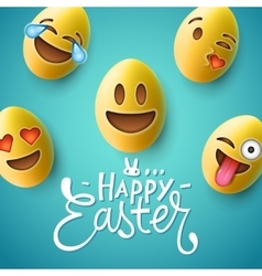 Happy Easter poster easter eggs with emoji faces vector