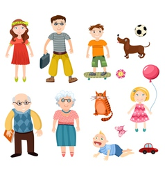 Happy family set vector