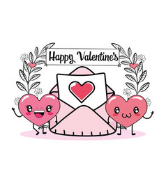 happy hearts couple with love card vector image