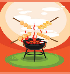 Hot grill backyard party vector