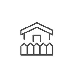 house and fence line outline icon vector image
