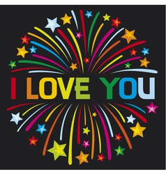 i love you firework vector image vector image