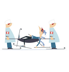 Injured skier and two physicians with a stretcher vector