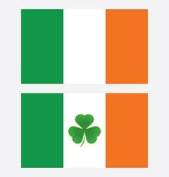 ireland flag with shamrock leaf isolated vector image