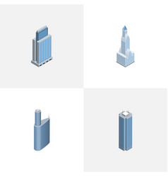 Isometric skyscraper set of urban building vector
